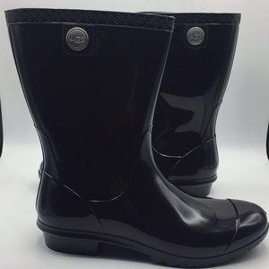 UGG Sienna Black Rubber Wool Insole Rain Boots